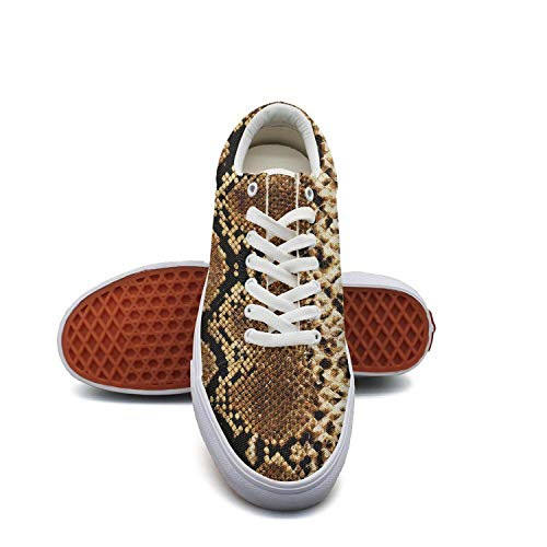 (fvnoui Women'ssnake Skin and Leopard Pattern Prints Canvas Shoes Low-Cut Straps Comfortable Round Sneakers Suitable for Walking)