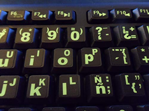 Spanish Keyboard Stickers with Fluorescent Inlays. Large Symbols Will Not Wear, Smudge or Fade. Spanish Conversion for All Laptop and Desktop Keyboards Also Free USB LED Light (White).