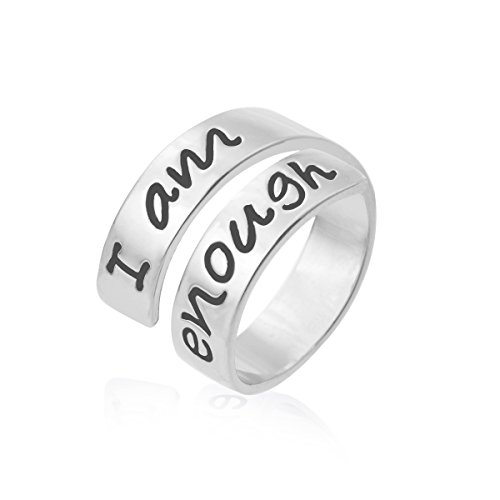 Yiyang Inspirational Ring for Women Adjustable Size Engraved Encouragement Message Rhodium Plating Jewelry Gift for Friends(I am enough) - Engraved Message Ring