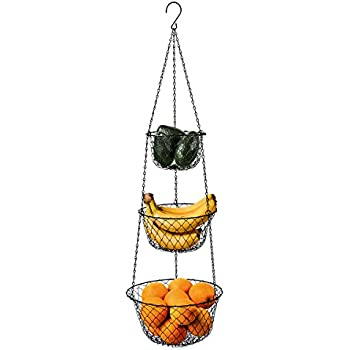 Deppon 3 Tier Wire Fruit Hanging Basket, Vegetable Kitchen Storage Basket,  Iron Wire