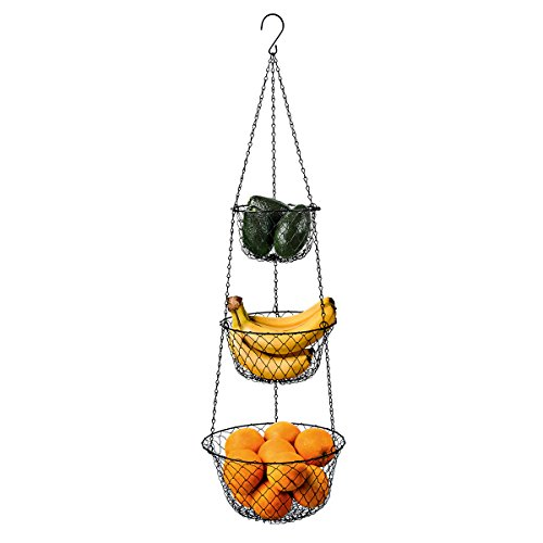Deppon 3-Tier Wire Fruit Hanging Basket, Vegetable Kitchen Storage Basket, Iron Wire