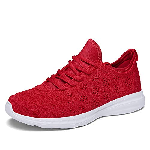 JOOMRA Women Gym Sneakers Casual Ladies Lightweight Fashion Walking Running Workout Sport Athletic Tennis Shoes Red Size 6.5