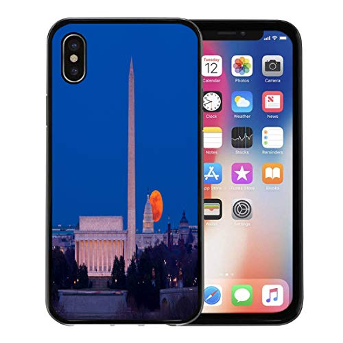 Semtomn Phone Case for Apple iPhone Xs case,Large Full Moon Rises Through The Haze Over Capitol Building in Washington Dc Lincoln Memorial for iPhone X Case,Rubber Border Protective Case,Black ()