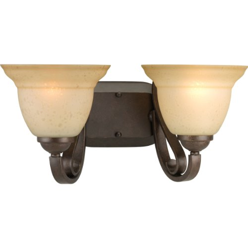 Forged Bronze Two Light Bath - Progress Lighting P2882-77 2-Light Bath Bracket with Tea Stain Etched Glass, Forged Bronze