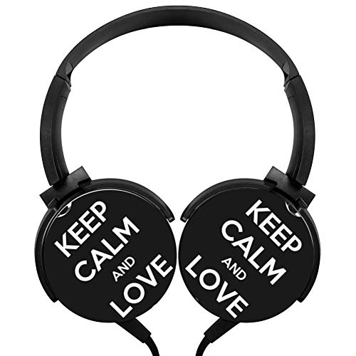 Keep Calm And Love Soccer Stereo Headphone Wired Portable Headset Black Earphone Earpiece With Mic -