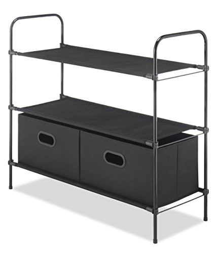 Whitmor Closet Organizer – includes 3 Durable Fabric Shelves & 2 Removeable Storage Boxes - Multi-purpose storage for Home or Office – Black Color - 32.7 x 12.4 x 2.4 inches