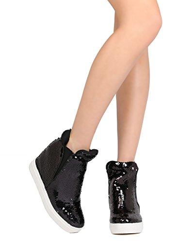 CAPE ROBBIN Women Sequin High Top Hidden Wedge Sneaker GB22 - Black (Size: 11) by CAPE ROBBIN (Image #5)