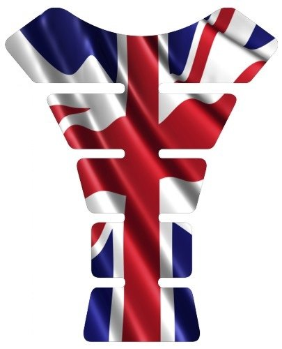 Motorcycle British Great Britain UK United kingdom waving flag sportbike gel tank pad protector tankpad guard sticker ()