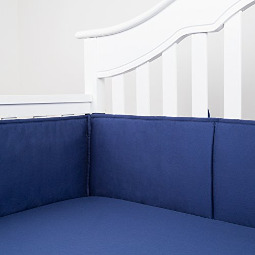 TILLYOU Cotton Collection Nursery Crib Bumper Pads for Standard Cribs Machine Washable Padded Crib Liner Set for Baby Boys Safe Bumper Guards Protector de Cuna Thick Rail Padding, 4 Piece, Navy Blue