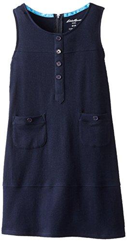 Eddie Bauer Big Girls' Cotton Interlock Dress, Navy, 14/16