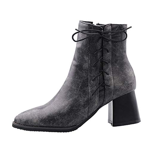 (◕‿◕Watere◕‿◕ Women's Boots,Womens Mid Calf Boots Low Heel Lace Up Zipper Martin Booties Round Toe Winter Autumn Shoes Gray )