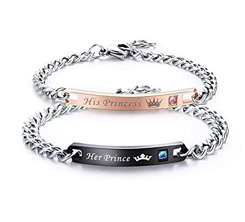teel Couples Bracelets for Men Women His & Her Bracelet Chain Gift for Lover (His Princess Her Prince) ()