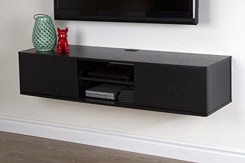 South Shore Furniture Agora Wall Mounted Media Console, 56-Inch, Black Oak