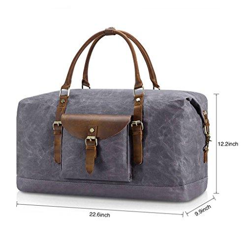 Plambag Oversized Duffel Bag, Waterproof Canvas Leather Trim Overnight Luggage Bag(Grey) by Plambag (Image #2)
