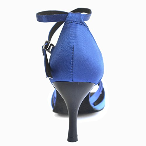 Jig Foo Sandalen offene Latin Salsa Tango Ballroom Dance Schuhe für Frauen mit 7,6cm Ferse Blau