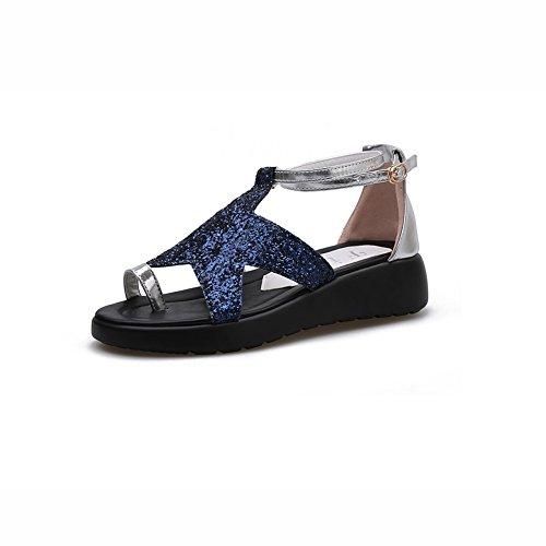 DALL Zapatos de tacón Ly-771 Parte Inferior Gruesa Zapatos De Mujer Punta Abierta Sandalias Planas Zapatos De Tacón Alto Primavera Y Verano Resistencia Al Desgaste 4 Cm De Alto Azul