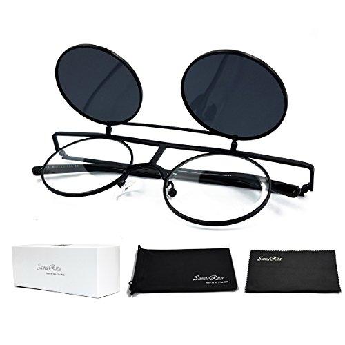 SamuRita Bold Flip Up Small Round Steampunk Sunglasses Polarized Favor Shades(Black - Up Flip With Glasses Shades