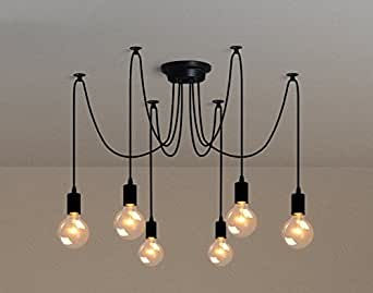 6 luces inicio deco vintage diy industrial accesorio de la l mpara colgante de luz retro. Black Bedroom Furniture Sets. Home Design Ideas