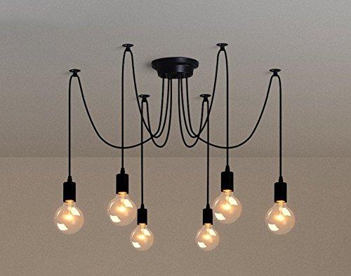 6 luces - Inicio Deco Vintage DIY Industrial accesorio de la lámpara colgante de luz Retro Lámpara de Techo de la lámpara de araña 6/8/10 luces (E27 ...