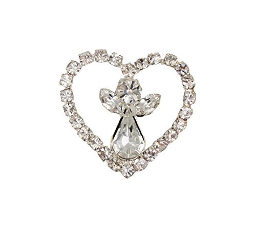 Rhinestone Angel in Heart Pin Tie Tack Silver (Angel Rhinestone Brooch)