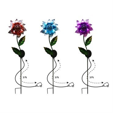 Alpine SOT434A-DSP Solar Metal Flower Garden Stakes with Wall Plug - Set of 3 by Alpine