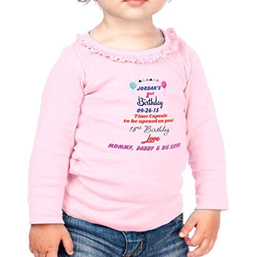 Rascal 100 Capsules - Personalized Custom Birthday First Birthday Time Capsule Cotton Girl Toddler Long Sleeve Ruffle Shirt Top Sunflower - Soft Pink, 6 Months