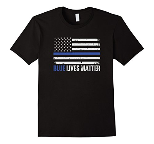 Mens Blue Lives Matter Thin Blue Line American Flag Cop T-Shirt Large Black (Cops Black T-shirt)