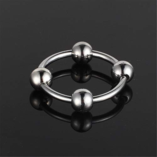 Beads 40Mm Stainless Steel Male Penis Ring Delay Ejaculation Newest Arrival C-ock R-ing with 4 Vibrating Bullet Glans Silicone Vibrator Beads for Male Adult Sex Toy G7-32 Silver L by Carlos Foushee (Image #2)