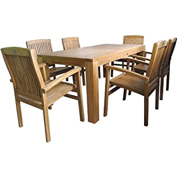 Amazonde Sitzgruppe Holz 180x90x75cm Tisch 6x Sessel Teak Balkon