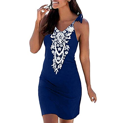 Sunhusing Women's Solid Color Lace Stitching Sleeveless Tassel Sling Sexy Slim Bag Hip Dress Boho Sundress Blue