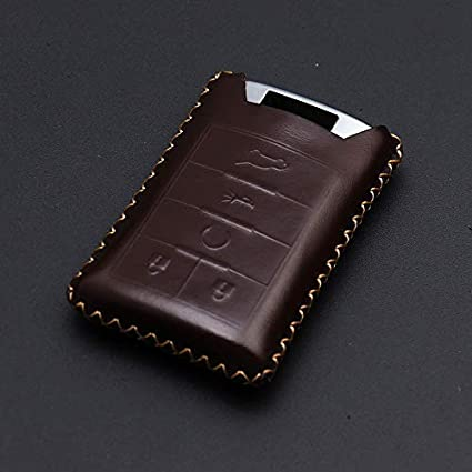 REGEM for Cadillac Coffee Premium Leather Car Key Chain Cover Cadillac DTS CTS STS XTS ATS SRX Escalade 5 Buttons Coffee