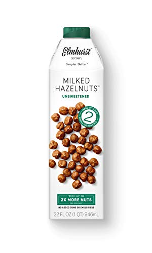 Elmhurst Milked - Unsweetened Hazelnut Milk - 32 Fluid Ounces (Pack of 6) Only 2 Ingredients, 4X the Protein, Non Dairy, Keto Friendly, No Added Sugar, Vegan (packaging may vary).