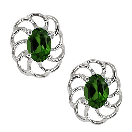 0.90 Ct Oval 6x4mm Green Chrome Diopside 10K White Gold Stud Earrings