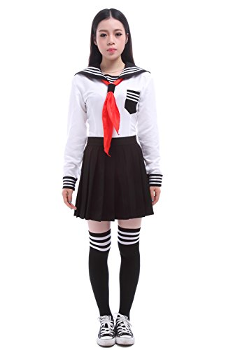 [Anime Clothes Classic Navy Sailor Suit Long Sleeve Girl Students School Uniforms (M, GC47B-M)] (Girl Anime Costumes)