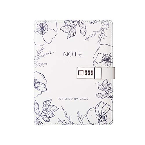 (Lock Journal A5 Binder Diary Faux Leather Refillable Journal Loose Leaf Spiral Flower Locking Notebook)