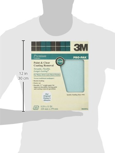 3M Pro-Pak Sandpaper Paint and Varnish Removal 9-Inch by 11-Inch 88590NA P180C-grit