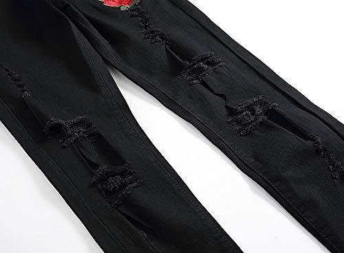 Rose Pantalones Hombres Elasticidad Corte Bordado pequeños Ajustado Pies Jeans Negro Agujero Versaces wUdqEvxCPU