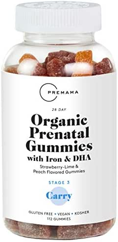 Premama Prenatal Gummy Vitamins - Organic Prenatal Vitamins with DHA and Folic Acid, Iron Gummies for Women, Pre Natal multivitamin Vegan Omega 3 - Gluten Free and Kosher (60 Count) (60 Count)