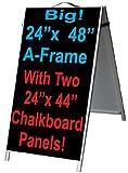 NEOPlex 24'' x 48'' Aluminum Sidewalk Sandwich Board A-frame Sign w/Chalkboard Insert Panels
