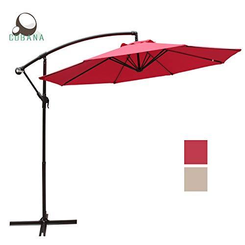 COBANA 10 Ft Patio Cantilever Offset Market Hanging Outdoor Umbrella with Crank Lift & Cross Base, Red