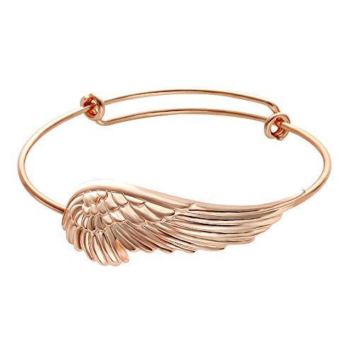 SENFAI Adjustable Angel Wing Love Bangles Women Girls Charm Barcelets for GiftsThree colors for chose (rose gold)