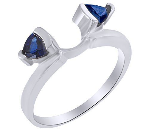 - AFFY Triangle Shape Simulated Blue Sapphire Wrap Enhancer Guard Ring in 14k White Gold Ring Size-6