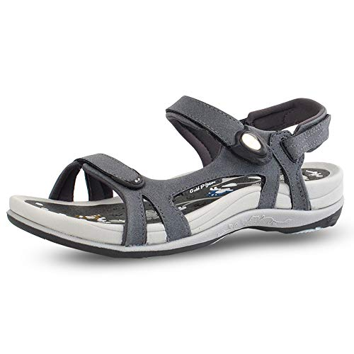 Gold Pigeon Shoes GP Signature SNAP Lock Sandals for Women: 9179 Grey, EU39 (US Size 8-8.5)