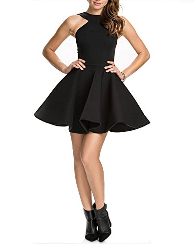 Fitted Fall Women's Dress Halter Black Chfashion Party Neck nSHCZ