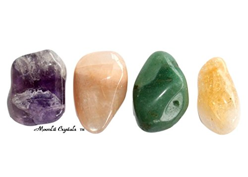 New Beginnings Crystal Set/Amethyst Moonstone Green Aventurine Citrine/Moonlit Crystals/Healing Gemstones/Present Gift/