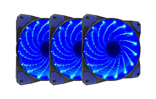 APEVIA AF312L-SBL 120mm Blue LED Ultra Silent Case Fan w/ 15 LEDs & Anti-Vibration Rubber Pads (3-pk)
