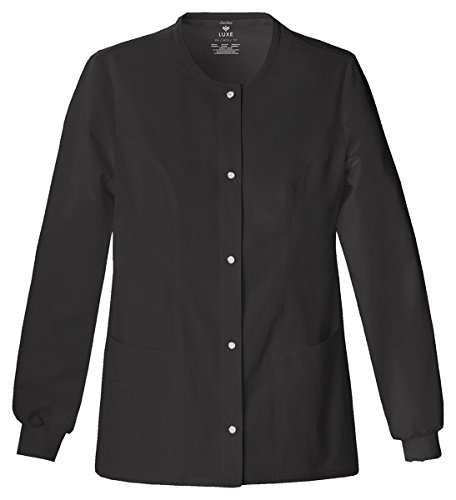 (Cherokee Women's Slim-Snap Front Warm-Up Jacket_Black_Medium,1330)