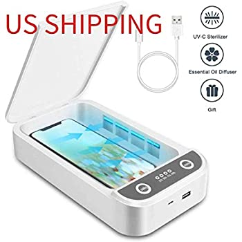 SHINEVI Portable UV Sanitizer Multi-Function UV Light Sterilizer Phone Cleaner Box with Aroma Diffuser,Fast Wireless Charging for Smart Phone,UV Sterilizing Box for Cell Phone,Jewelry,Watches,Glasses