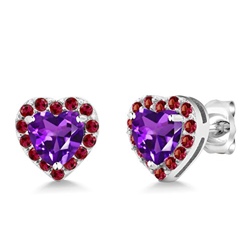 Gem Stone King 925 Sterling Silver 1.26 Ct Heart Shape Purple Amethyst Created Ruby Earrings ()