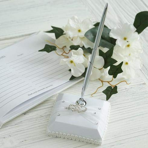 BalsaCircle Silver Pen and White Holder Set with Double Hearts Rhinestones - Wedding Accessories Decorations Supplies